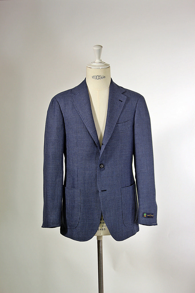 Blue Houndstooth Linen/Wool Jacket