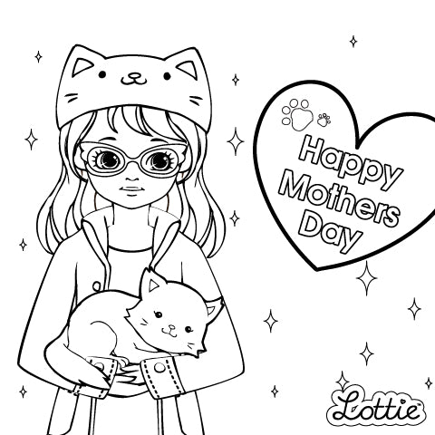 Mother's Day Lottie Downloadable Colouring Pages