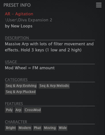 New Loops Diva Expansion 2 - Diva Presets