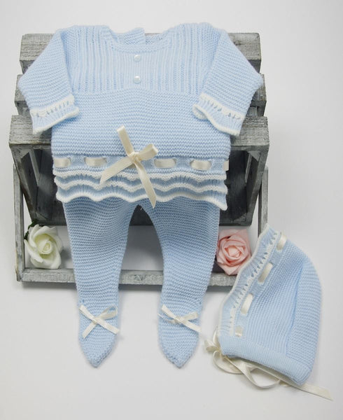 Baby Girl Boy White Spanish Two Piece Knitted Set Bailey Buttons