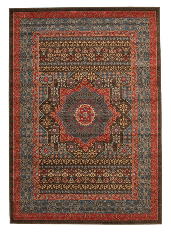 230x160cm Antique Heriz Rug - Brown Red Floor Rugs
