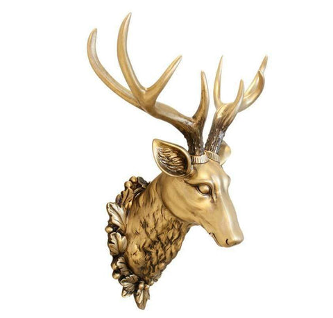 Brass Deer Head 3D Wall Sculpture - 2 Colours