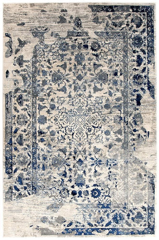 Modern Tabriz Transitional Modern Rug White Navy Grey