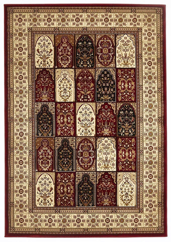 Traditional Traditional Panel Design Burgundy with Ivory