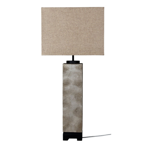 Tyros Embossed Pewter Complete Table Lamp Embossed Table Lamp