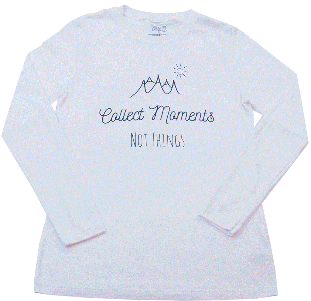 Collect Moments Not Things, White Long Sleeve T-Shirt