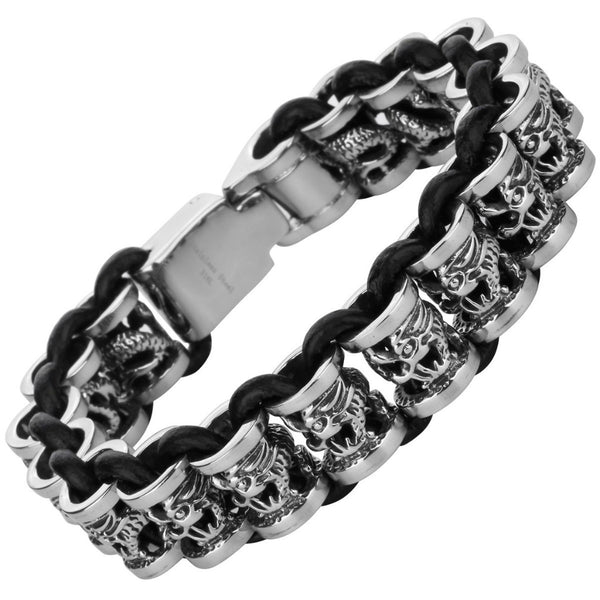 Stainless Steel Black leather Dragon Bracelet ~ Q - 786shop4you