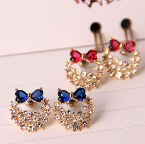 18K Gold Plated Bowknot Crystal Earring - 786shop4you