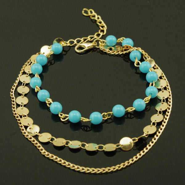 Multilayer Hand Beaded Sequined Chain Anklet