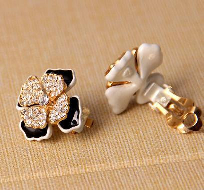 18K Gold Plated Rhinestone Flower Earring - 786shop4you