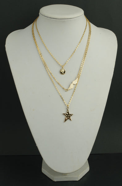 Stars Angel Wings Saplings Multilayer Necklace - 786shop4you