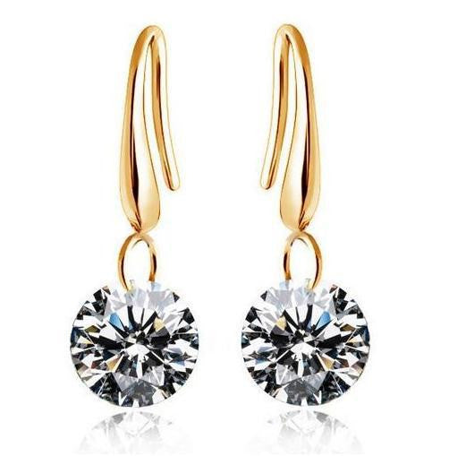 Silver Gold Crystal Earring