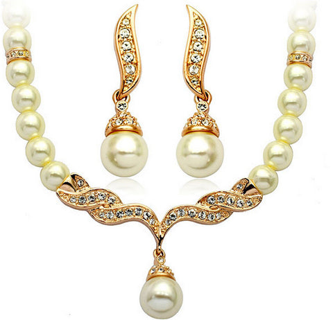 Gold Plated Pearl Necklace Set DLT - 786shop4you