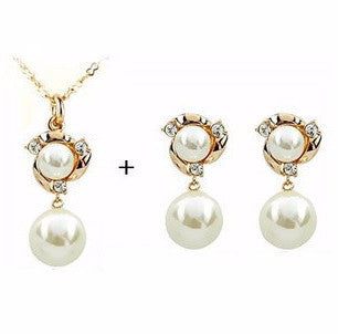 Gold Plated B9 Rhinestone Pearl Necklace Set LB - 786shop4you