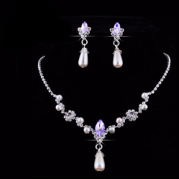 Pearl Alloy Rhinestone Necklace Earring Set - 786shop4you