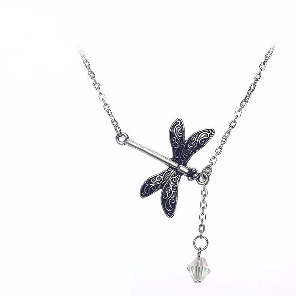 Bohemia Dragonfly Crystal Tassels Short Chain Necklace - 786shop4you