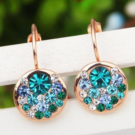 Gold Plated Austrian Rose Blue Crystal Earring