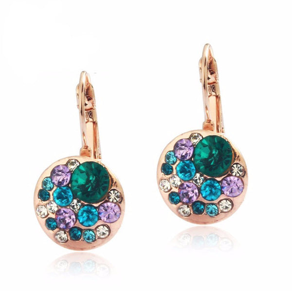 Gold Plated Austrian Rose Blue Crystal Earring - 786shop4you