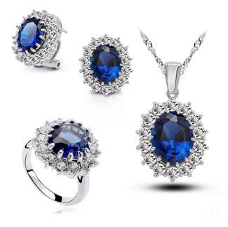 Vintage Sapphire Engagement Rings Necklace Set - 786shop4you