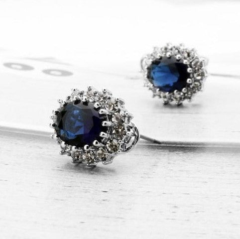 Vintage Sapphire Engagement Rings Necklace Set
