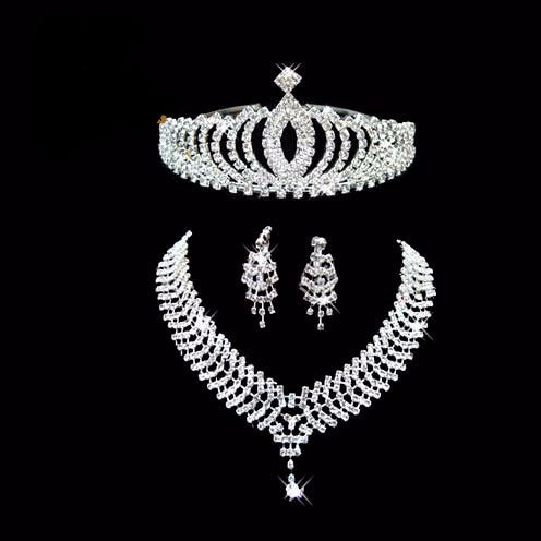 Rhinestone Tiara Necklace Set
