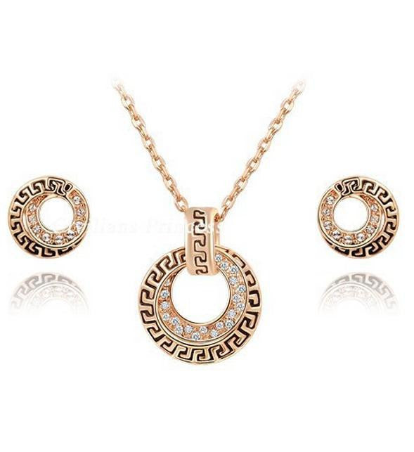 Crystal Rose Gold Plated Necklace Set - 786shop4you