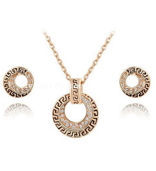 Crystal Rose Gold Plated Necklace Set DLT - 786shop4you