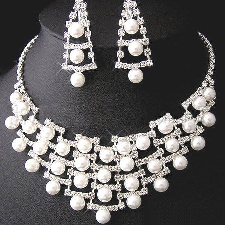Pearl Crystal Bridal Jewellery Necklace Set F8 - 786shop4you
