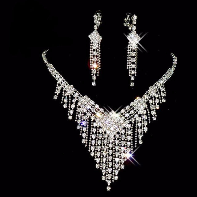 Triangle Rhinestone Crystal Necklace Earring Set F8
