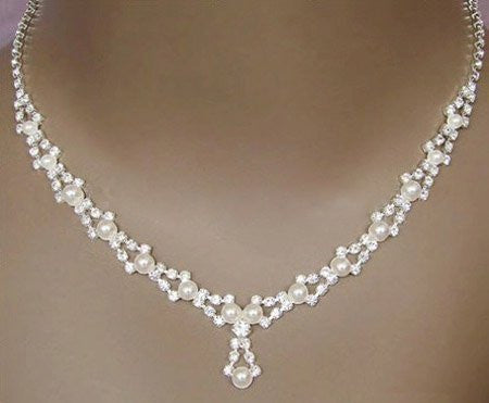 Crystal Pearl Necklace Set F8 - 786shop4you