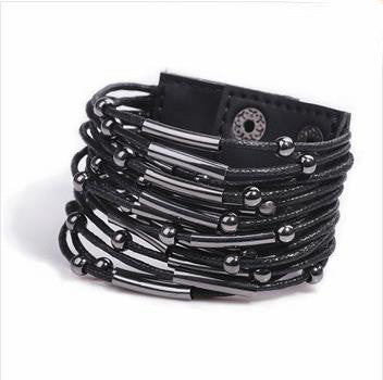 Black Punk Beaded Metal Leather Bracelet - 786shop4you