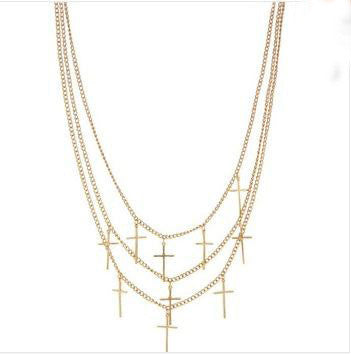 Classic Multi Layer Cross Necklace - 786shop4you