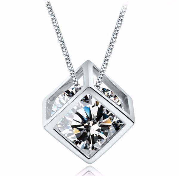 925 Silver Plated Square Pendant Necklace - 786shop4you