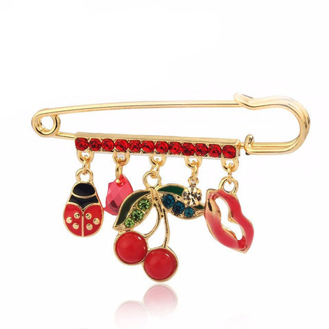 Cherry LadyBird ~ Crystal Brooch - 786shop4you
