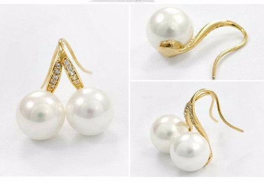 Crystal Silver Plated Pearl Earring - 786shop4you