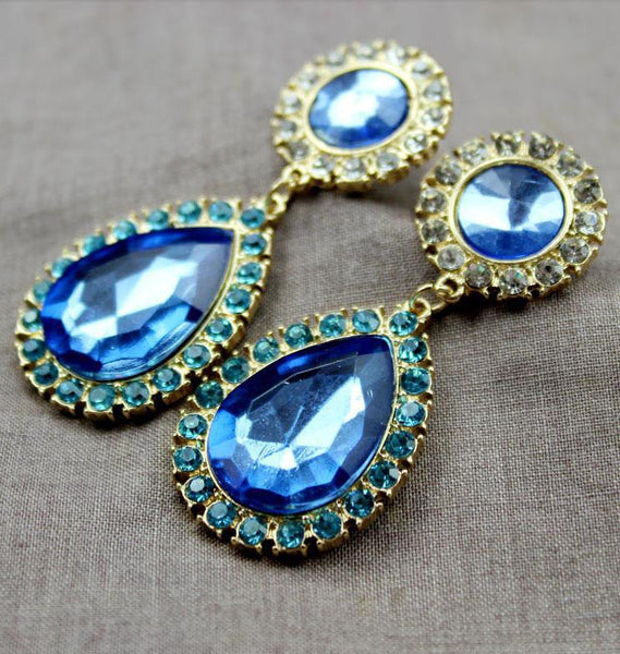 Blue Water Drop Crystal Earring - 786shop4you