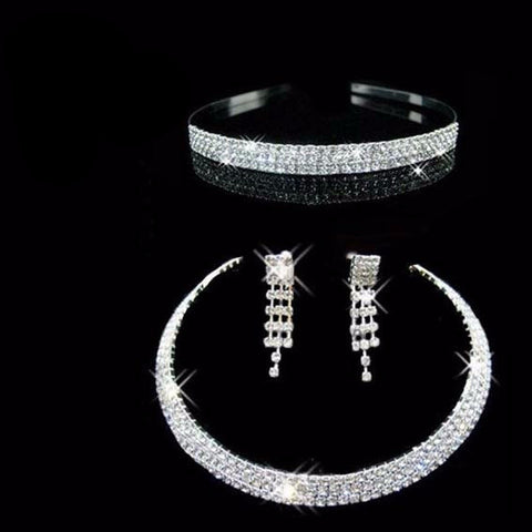 3 Pcs Rhinestone Kezz Bridal Set - 786shop4you