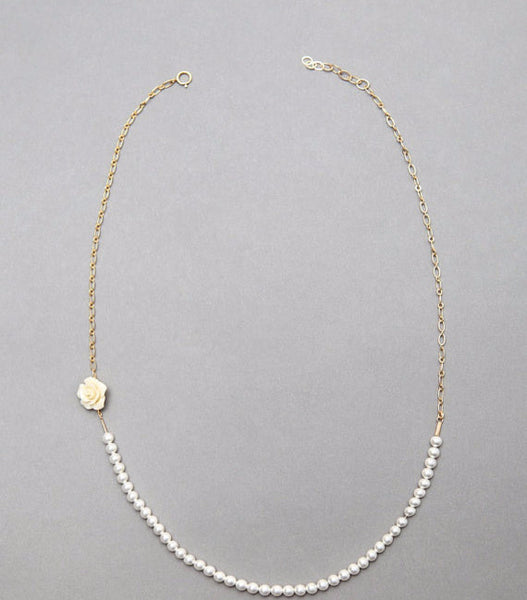 Bohemia Beaded Pearl Roses Short Necklace - 786shop4you