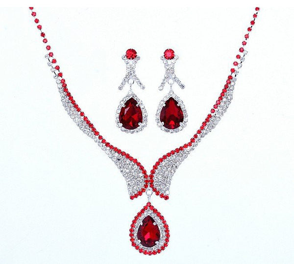 Crystal Red Silver Plated Necklace Set - 786shop4you