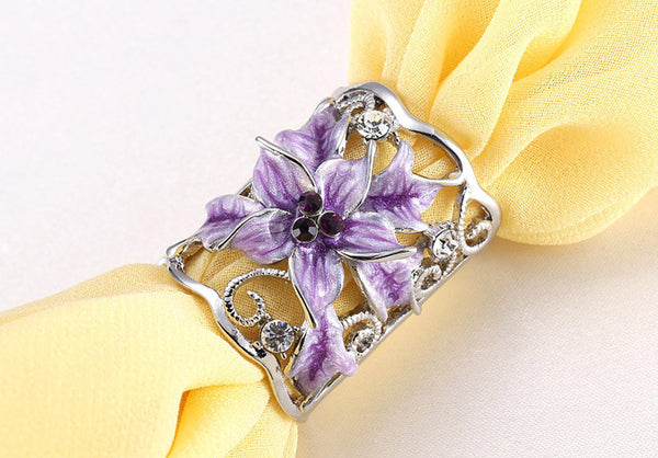 Gold Plated Flower Scarf Buckle Brooch