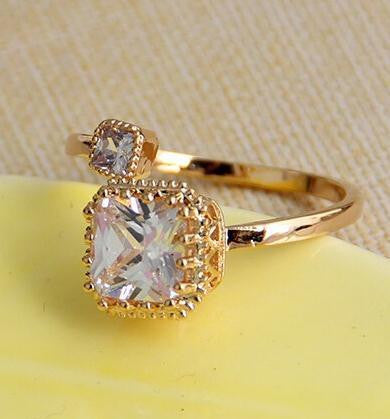 18K Gold Plated Crystal Engagement Ring - 786shop4you