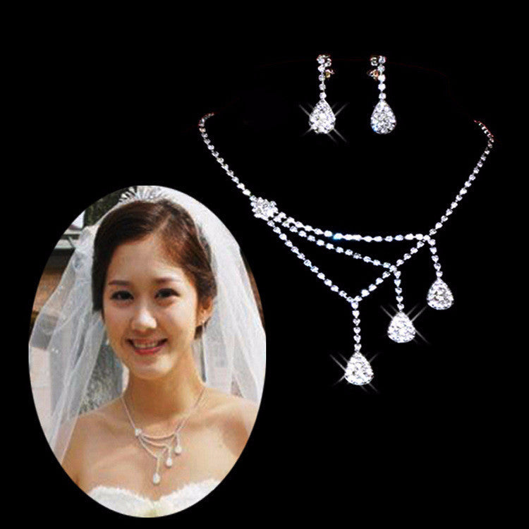 White Crystal water drop Necklace earring set - 786shop4you