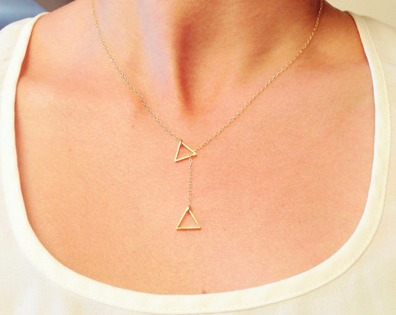 Triangular Geometric Short Cross Necklaces