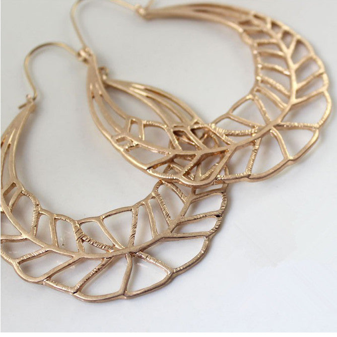 2016 New Fashion  Golden Leaves Exaggerated Hollow Leaf Round Jewelry Earrings For Women YX821 ABC    403101406 - 786shop4you