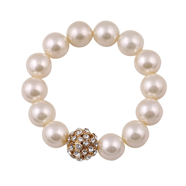 2016 New Fashion  Rhinestone Crystal  imitation pearl Stretch Bracelets For Women Wholesale YX2022 - 786shop4you