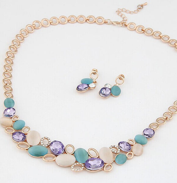 Rhinestone Gem Opal Necklace Set
