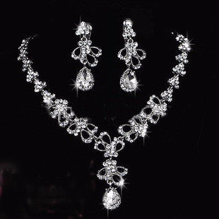 Butterfly Crystal Rhinestone Necklace Set DLT - 786shop4you