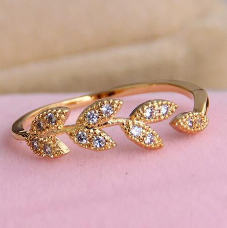 18K Gold Plated Adjustable Leaves Ring - 786shop4you