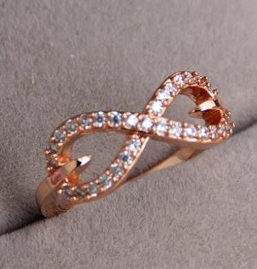 No 8 Crystal 18K Gold Plated Ring