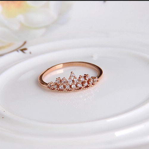 18K Gold Plated Crystal Crown Ring - 786shop4you